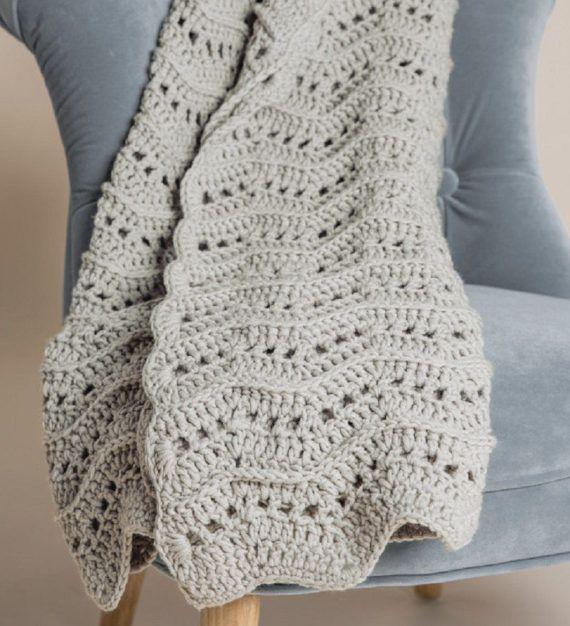 Caliente y ondulado tiro manta ganchillo patrón único hilo | Crochet ...