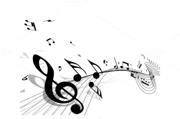 Musical Design Elements From Music Staff With Treble Clef, Piano