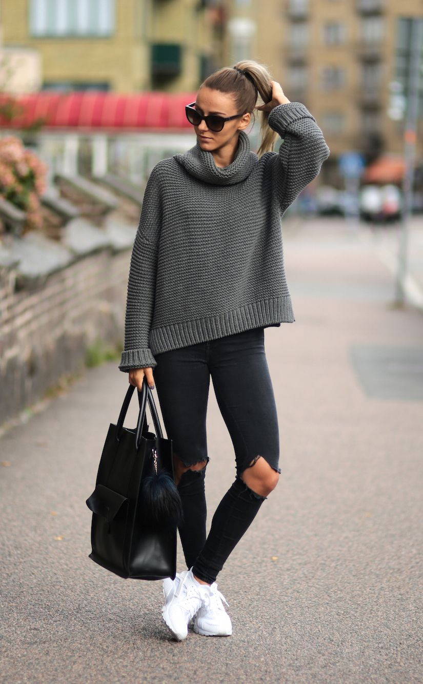 Pair simple knitwear with skinny jeans and shades this fall