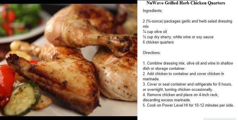 Nuwave Grilled Herb Chicken Quarters With Images Nuwave Oven