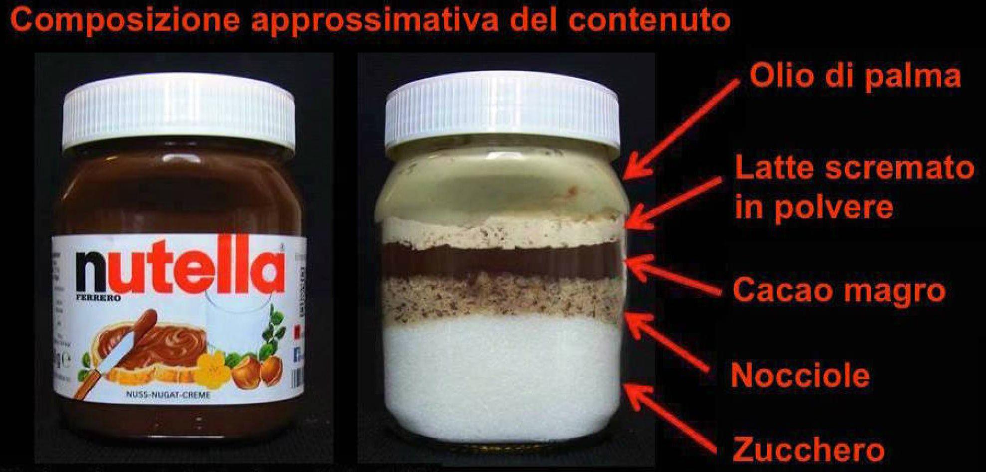 """""""Nutella, cosa c'è nel barattolo"""": l'esperimento di un'organizzazione di consumi tedesca"""