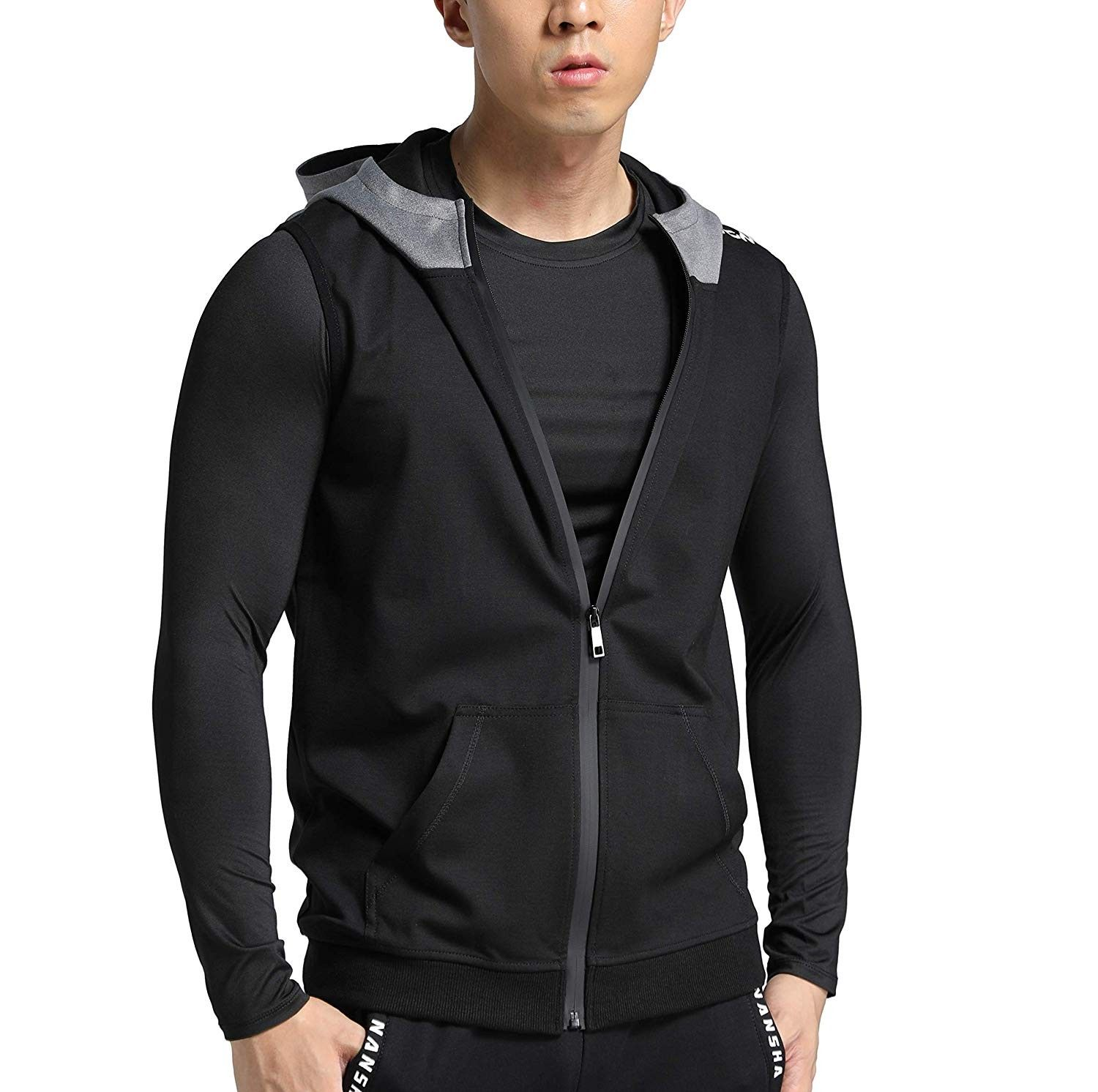 Premium Men's Fit Sleeveless Hoodie - Mens Workout Hooded Tank Tops Sleeveless Gym Hoodies - Figure...