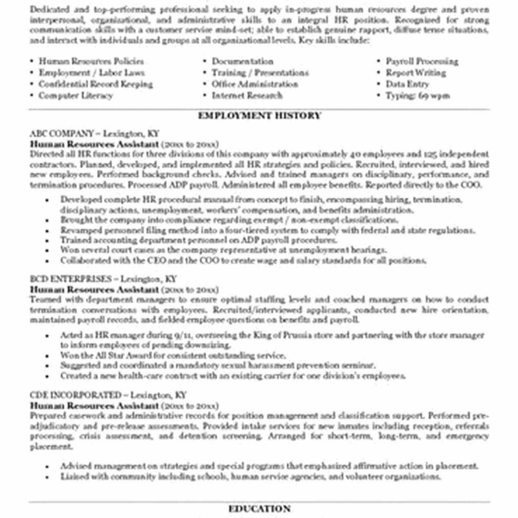 Pin On Human Resources Resume