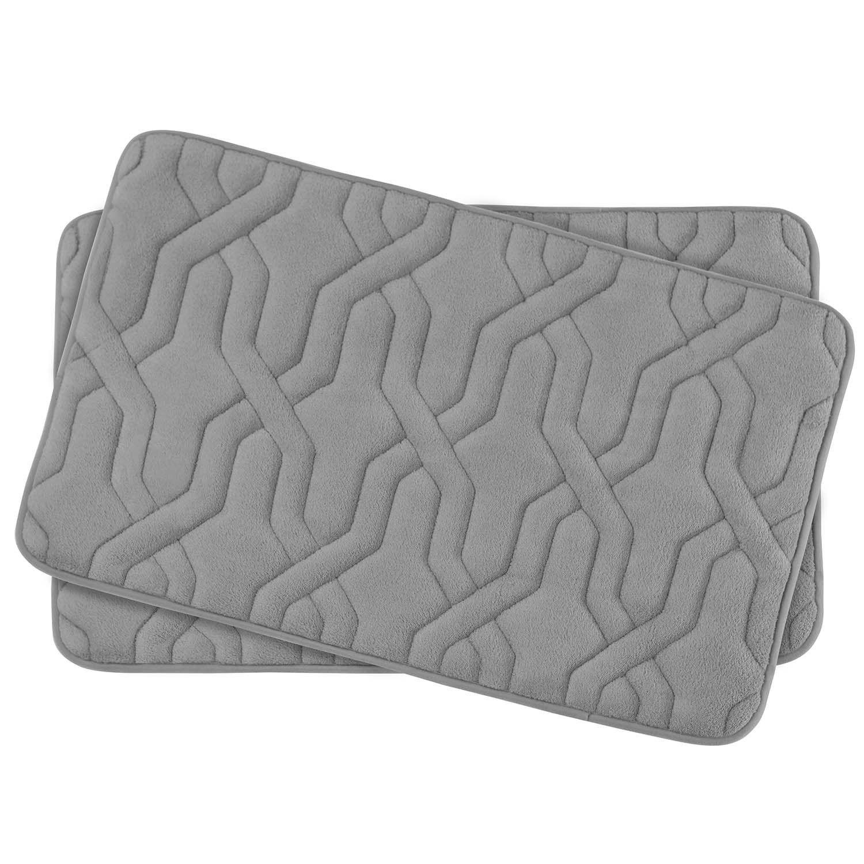 drona small 2 piece premium micro plush memory foam bath mat set