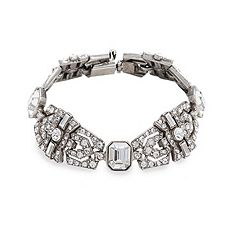 this art deco-inspired crystal bracelet, designed by ben amun bridal, features hand-cut swarovski crystals arranged in a striking design, $405
