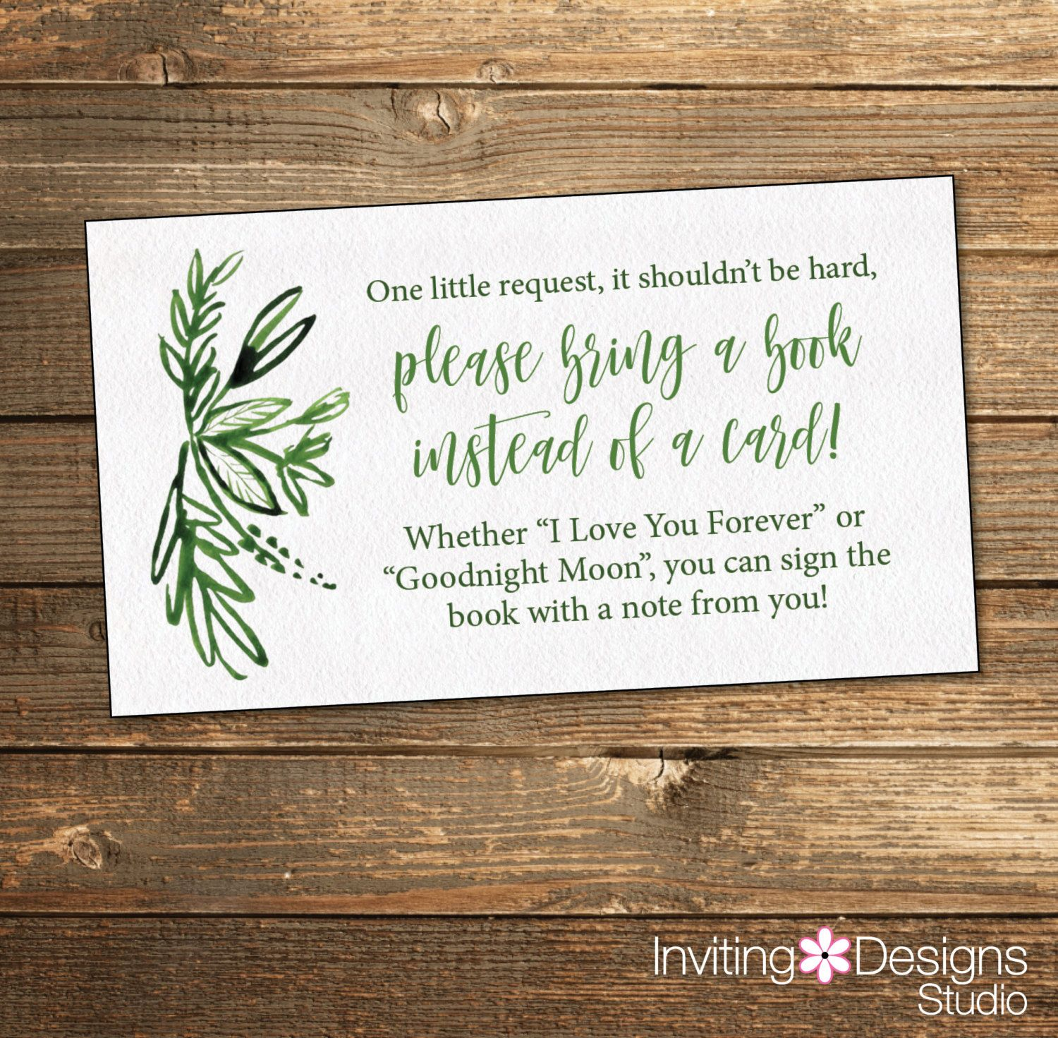Greenery Baby Shower Book Request Card Green Baby Shower