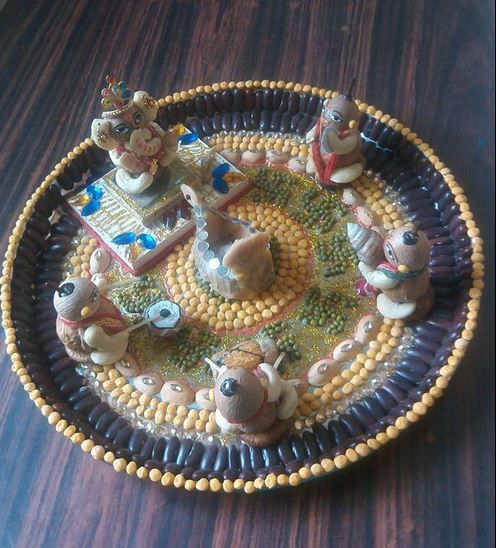 Ganpati decoration ideas aarti ki thali for also ganapati rh in pinterest