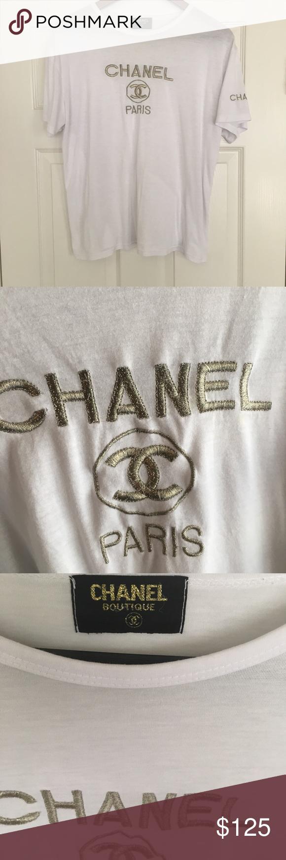 CHANEL Authentic CC White Vintage TShirt Vintage
