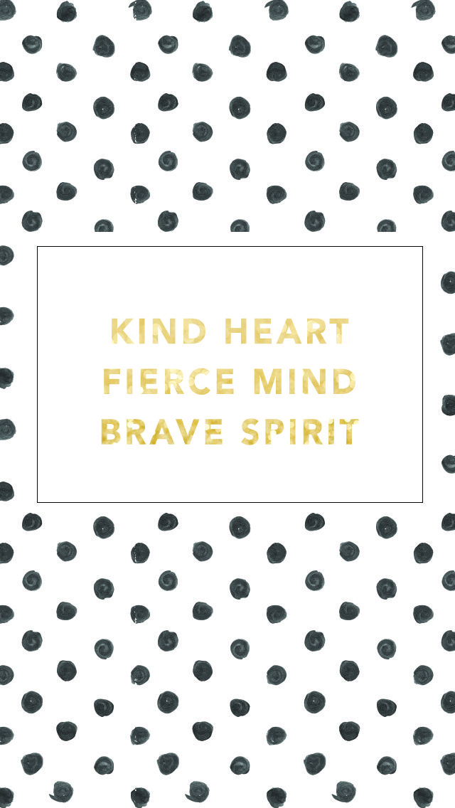 Gld Quote Black White Gld Watercolour Dots Spots Kind Fierce Brave Iphone