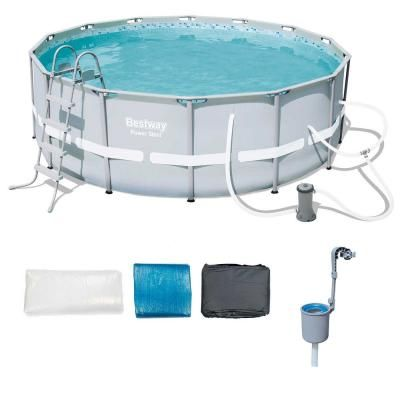 14 Ft Round 48 In Power Steel Frame Above Ground Pool Set And Skimmer 56445e Bw 58233e Bw The Home Depot In Ground Pools Round Pool Steel Frame