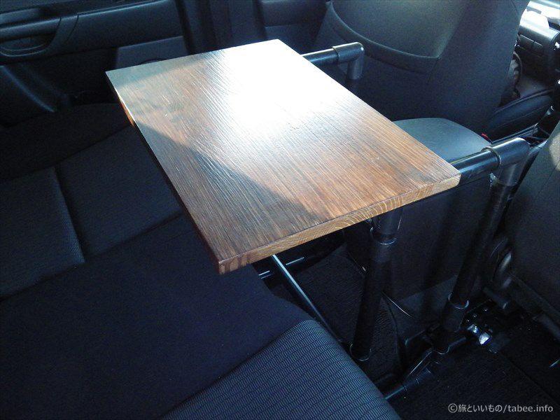Bkアクセラでの車中食を快適に テーブルを設置してみました 旅といいもの 車 テーブル イレクターパイプ テーブル