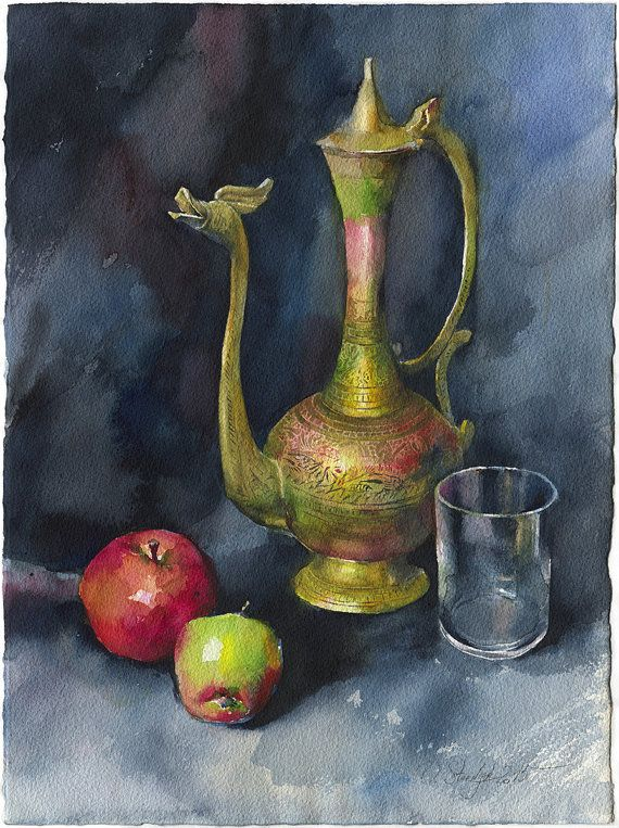 Still Life Watercolor Painting Brass Indian Teapot By Olgasternyk