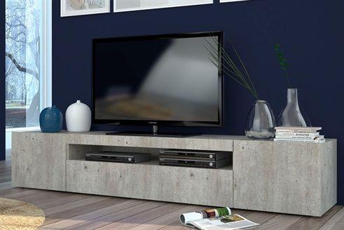 Meuble Tv 1 Porte Daiquiri Br Imitation Beton Laque Meuble Tv