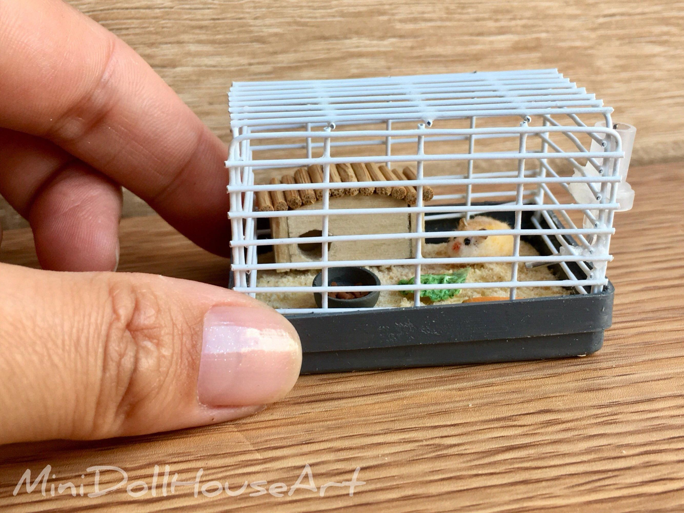 Cage with hamster. Miniature for dolls, doll house. Handmade.