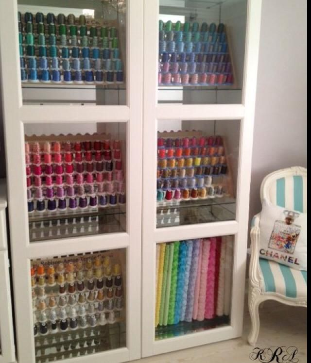 Ikea Great Way To Display Thread Without Getting Dusty 4 Ikea Sewing Rooms Sewing Room Organization Sewing Room Design