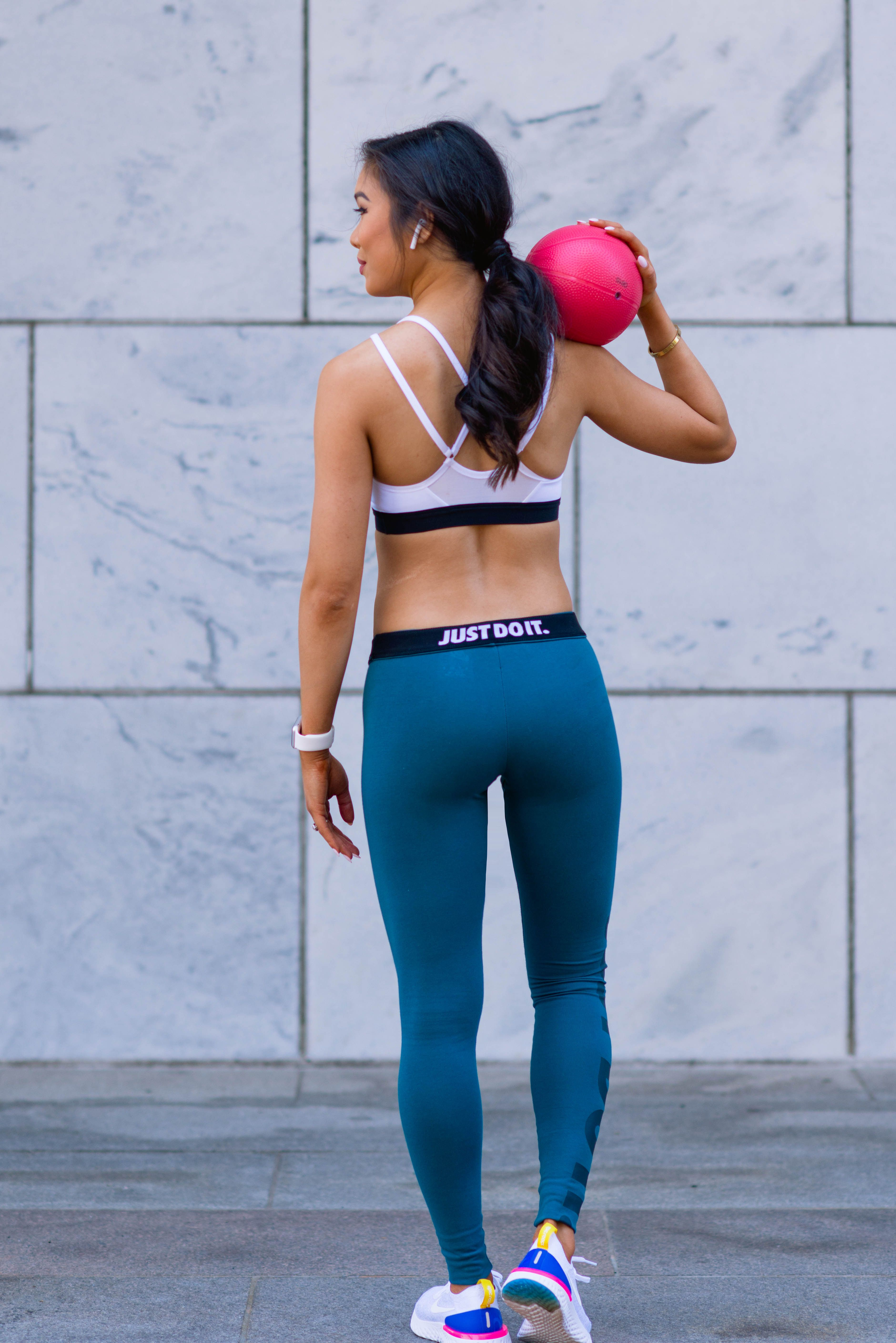 b3a98d802ca3f Nike athletic apparel featuring Indy Sports Bra, Leg-A-See Leggings and  Epic React Sneakers