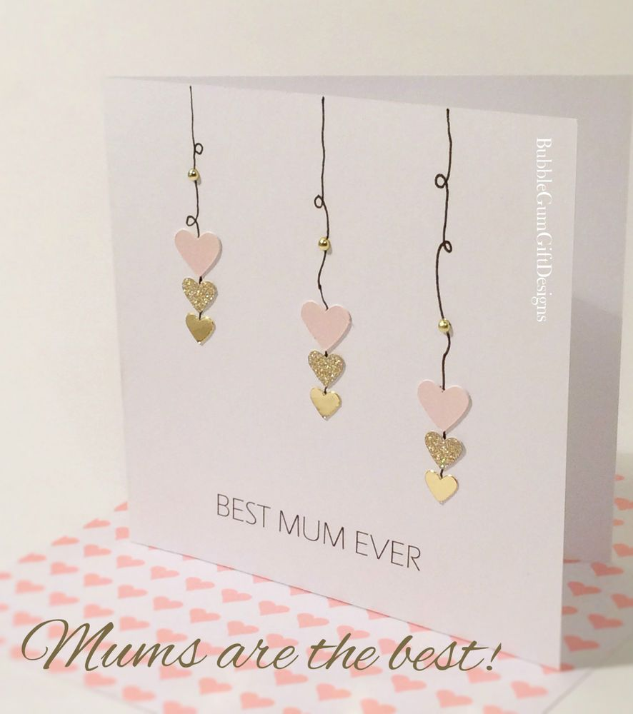 Card for mum mummy happy mothers day mothering sunday heart best mum