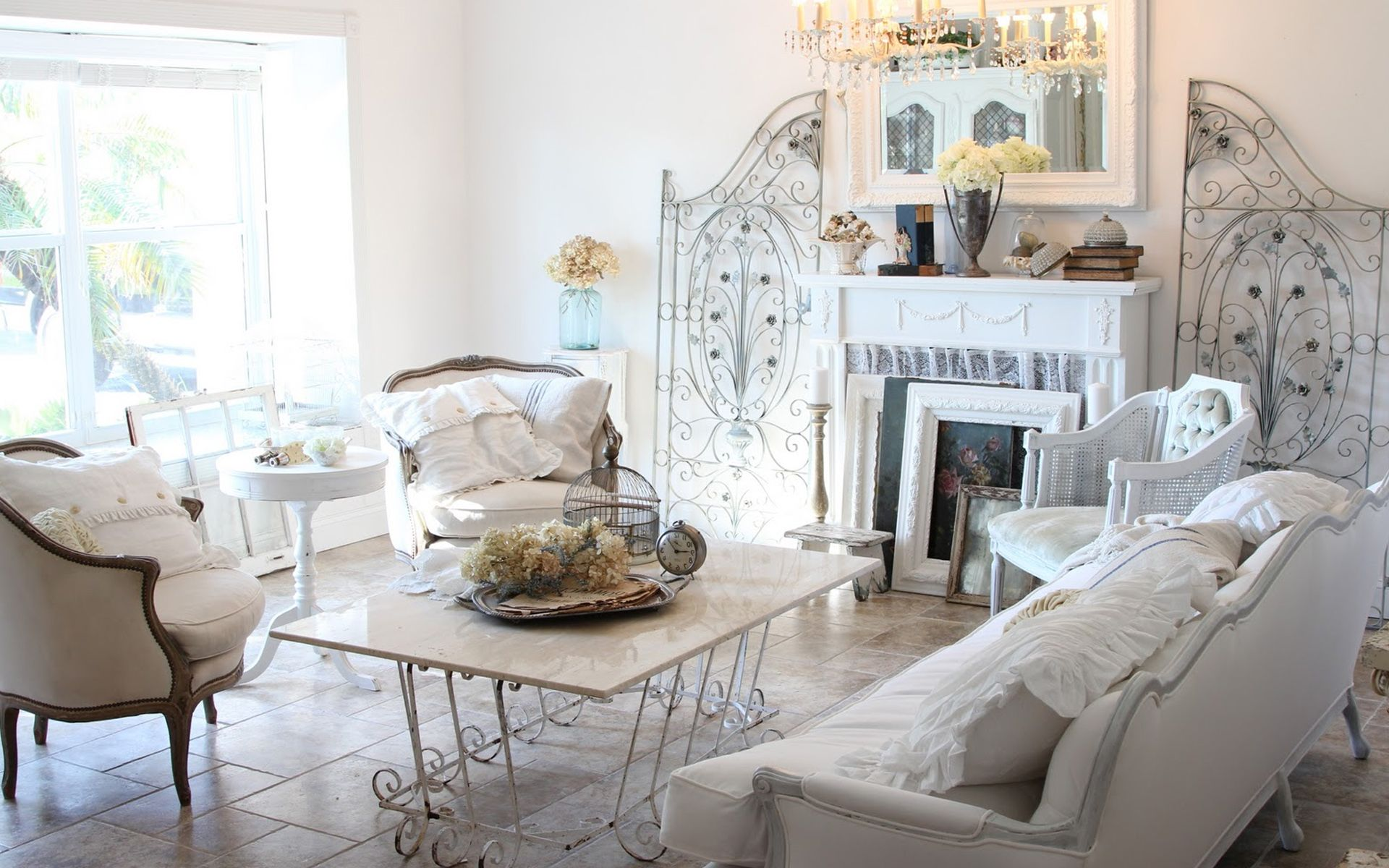 Bright shabby chic living room with ruffles on pillows | Shabby Chic ...