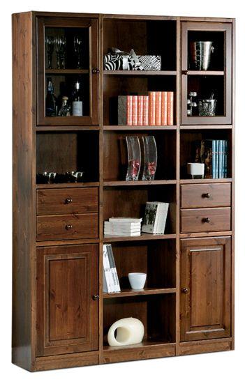 Libreria rustica in legno massello di pino di svezia proposto in finitura noce www - Mobili in legno di pino ...