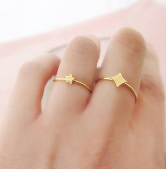 Gold Star Ring Solid Gold Star Ring Tiny star ring by ZacdeGal