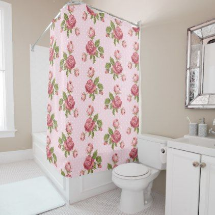 Pink Roses Shower Curtain   Flowers Floral Flower Design Unique Style