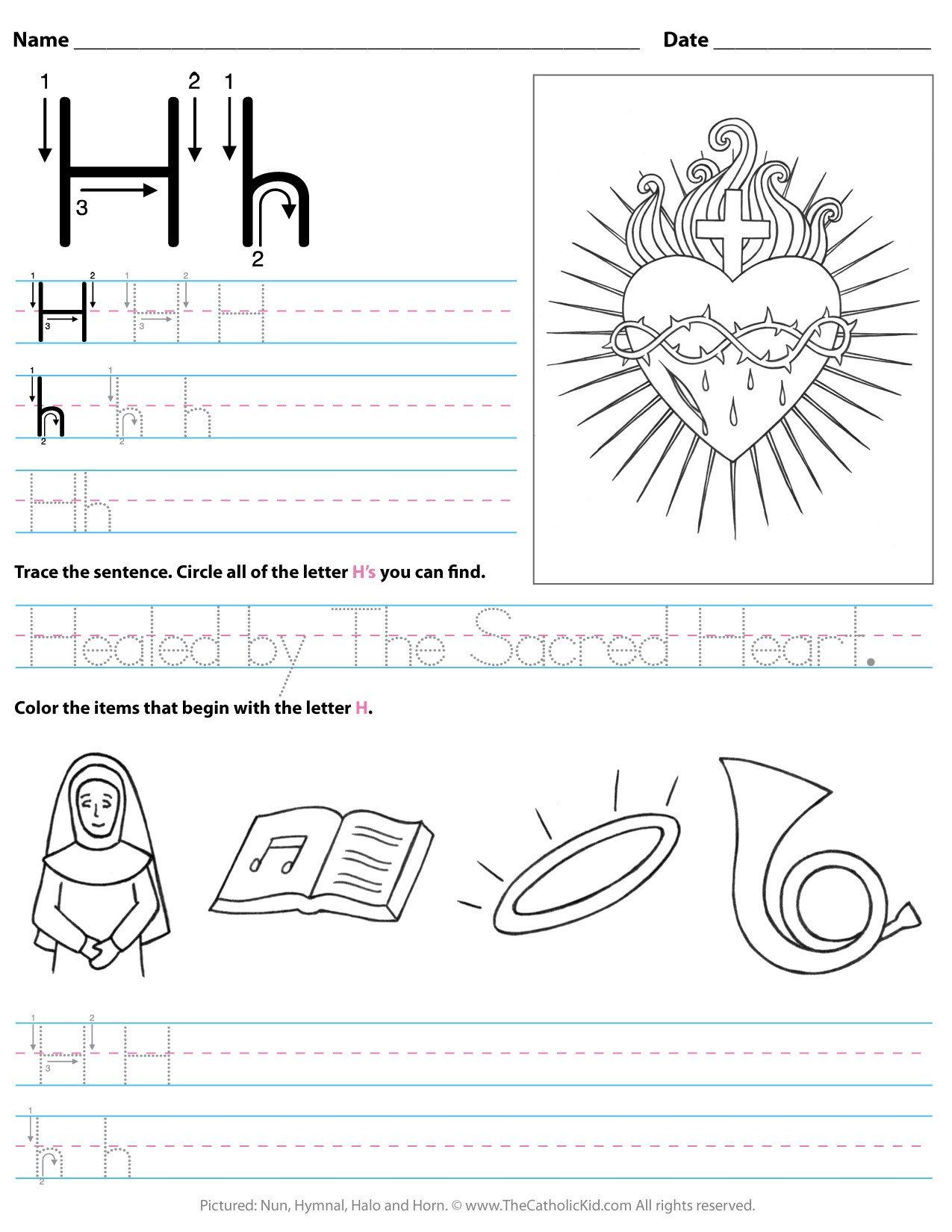 Letter H Worksheets For Kindergarten Catholic Alphabet