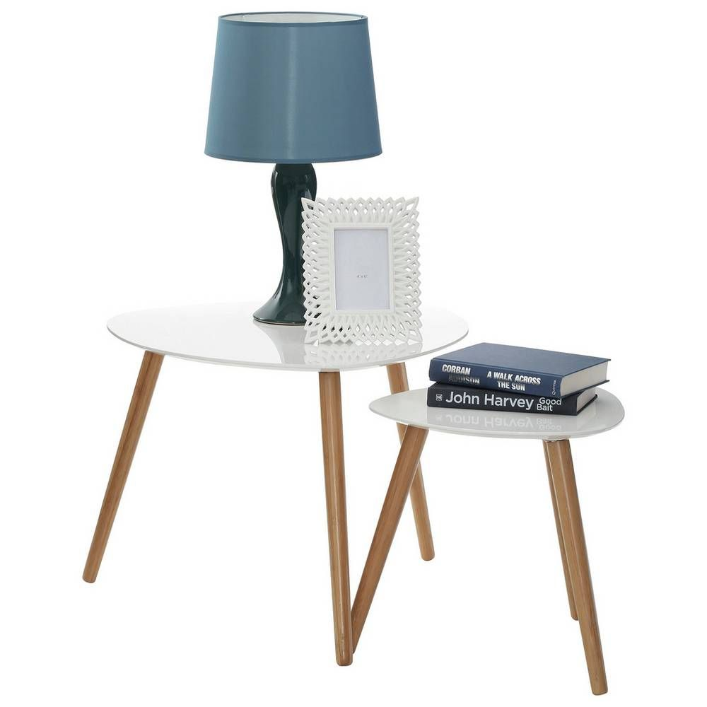Argos Small White Table And Chairs: Premier Housewares Nostra Nest Of 2 Tables