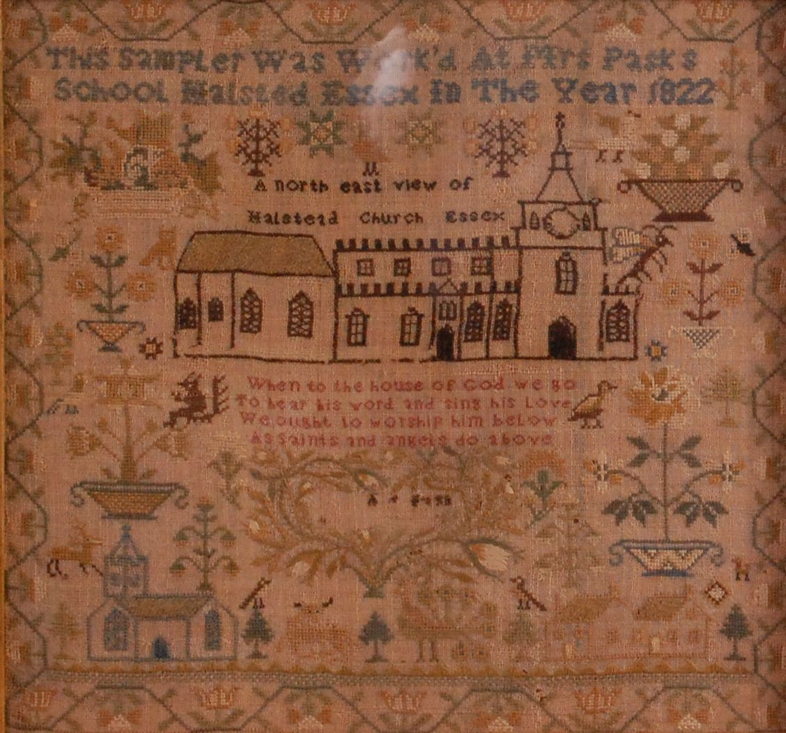 An early 19th century needlework, verse and picture sampler, titled 'This sampler was worked at Mrs Pask's School, Halsted, Essex, in the year 1822'