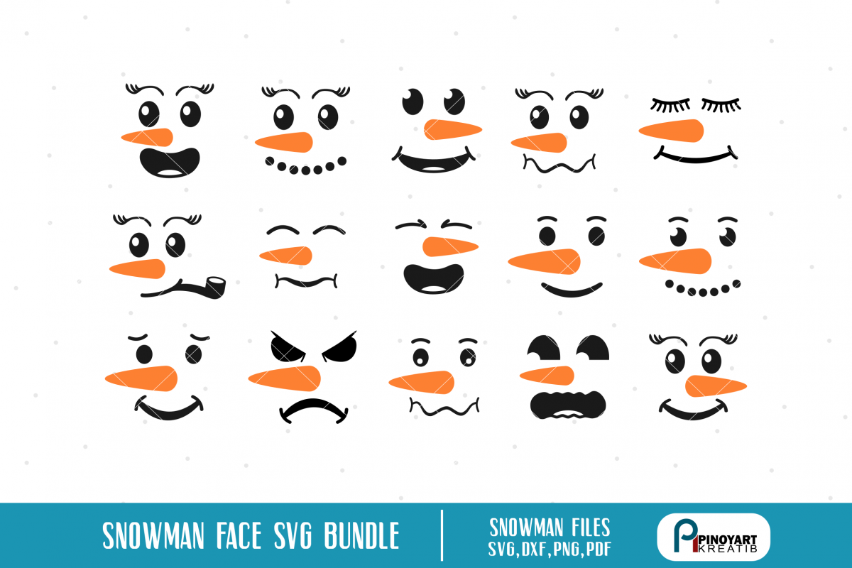 Snowman Faces svg Bundle snowman vectors Snowman faces