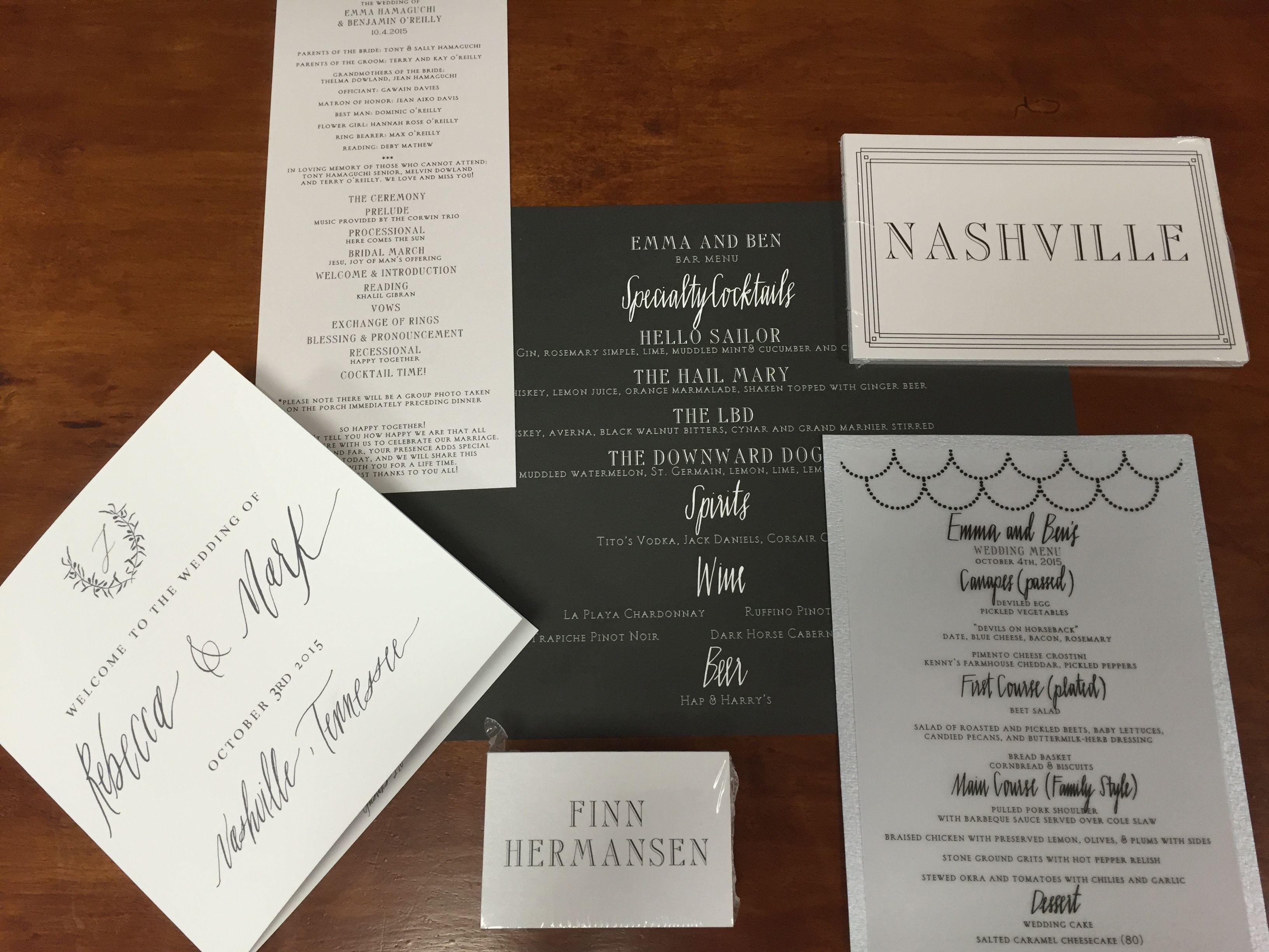 Wedding invites, menu, cards, itinerary and program. Black and white colors