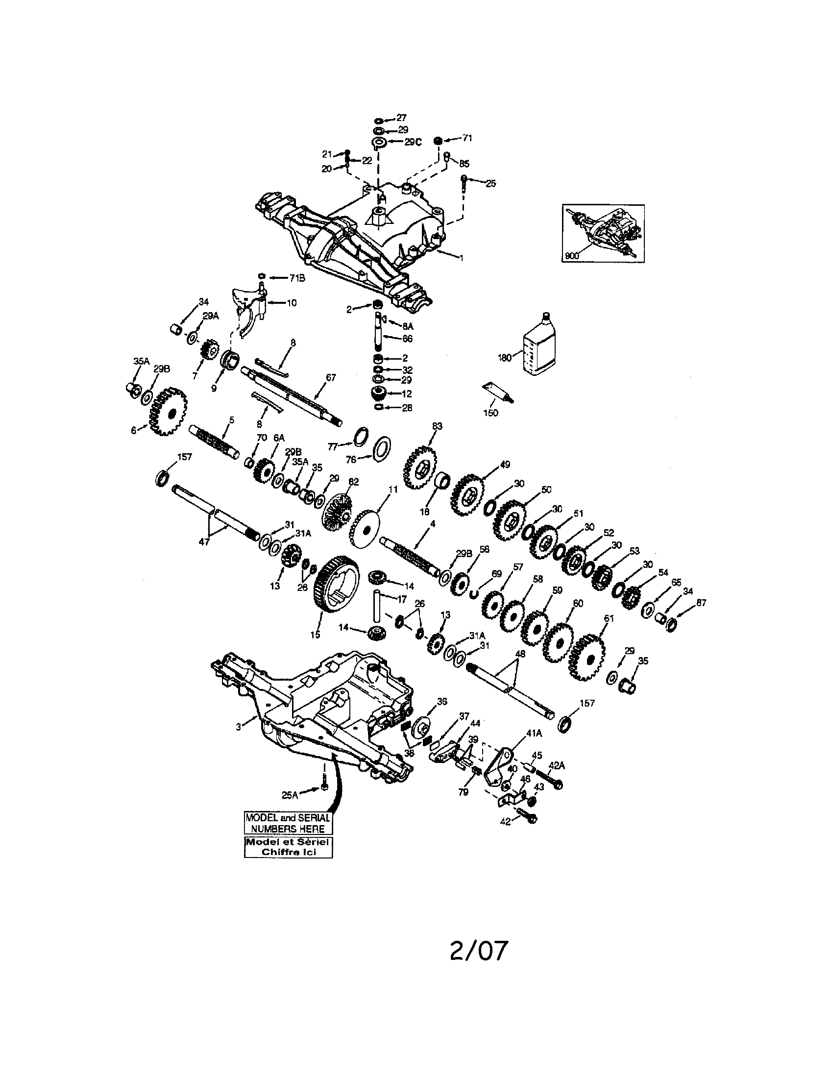 PEERLESS TRANSAXLE Diagram & Parts List for Model