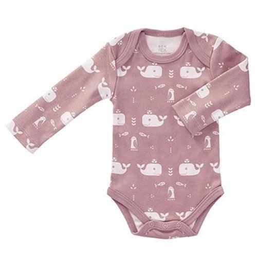 Fresk Babybody mit langen Armen - Wal rosa | Babybody ...