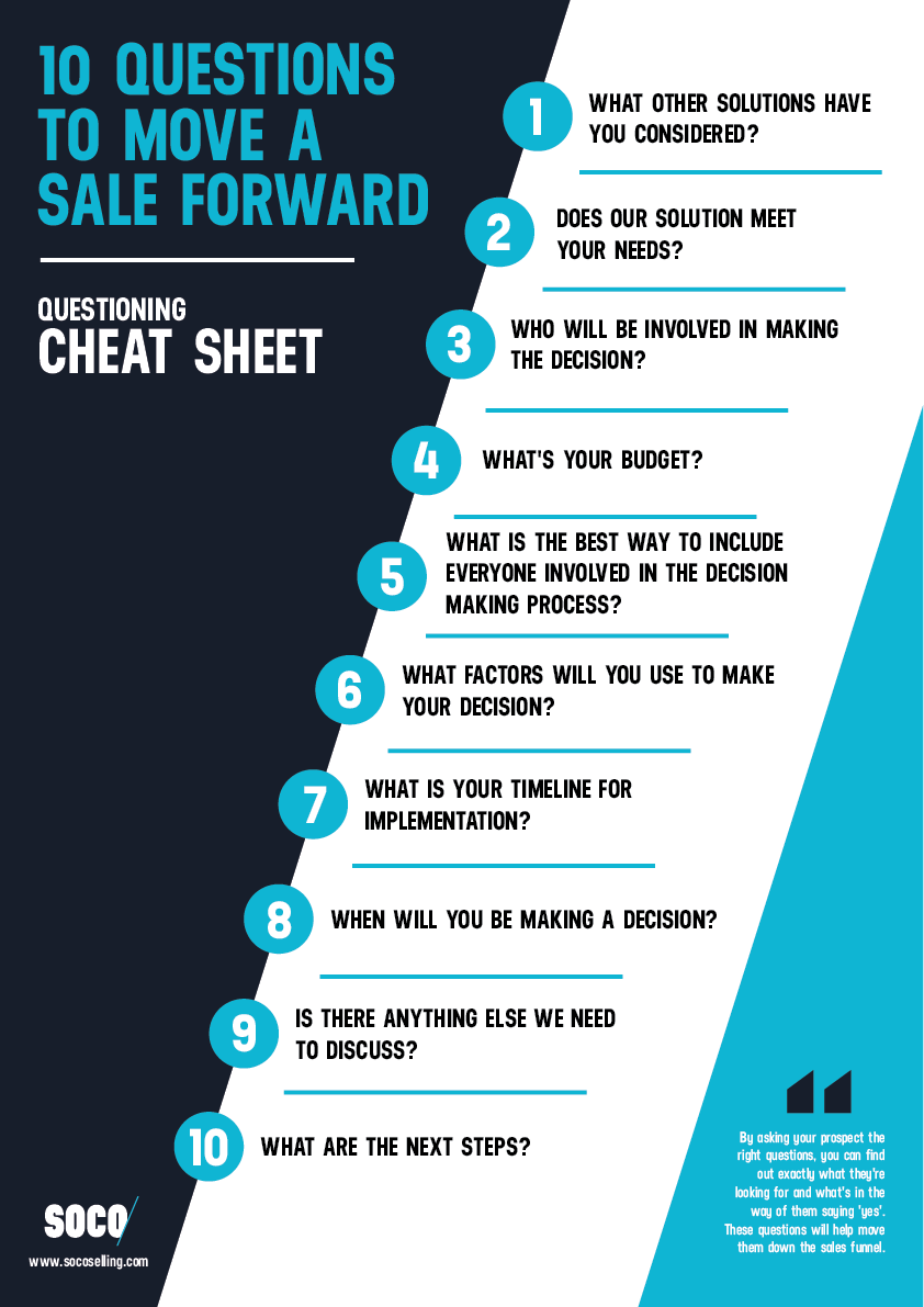Questioning Cheat Sheet 10 Questions To Move A Sale Forward