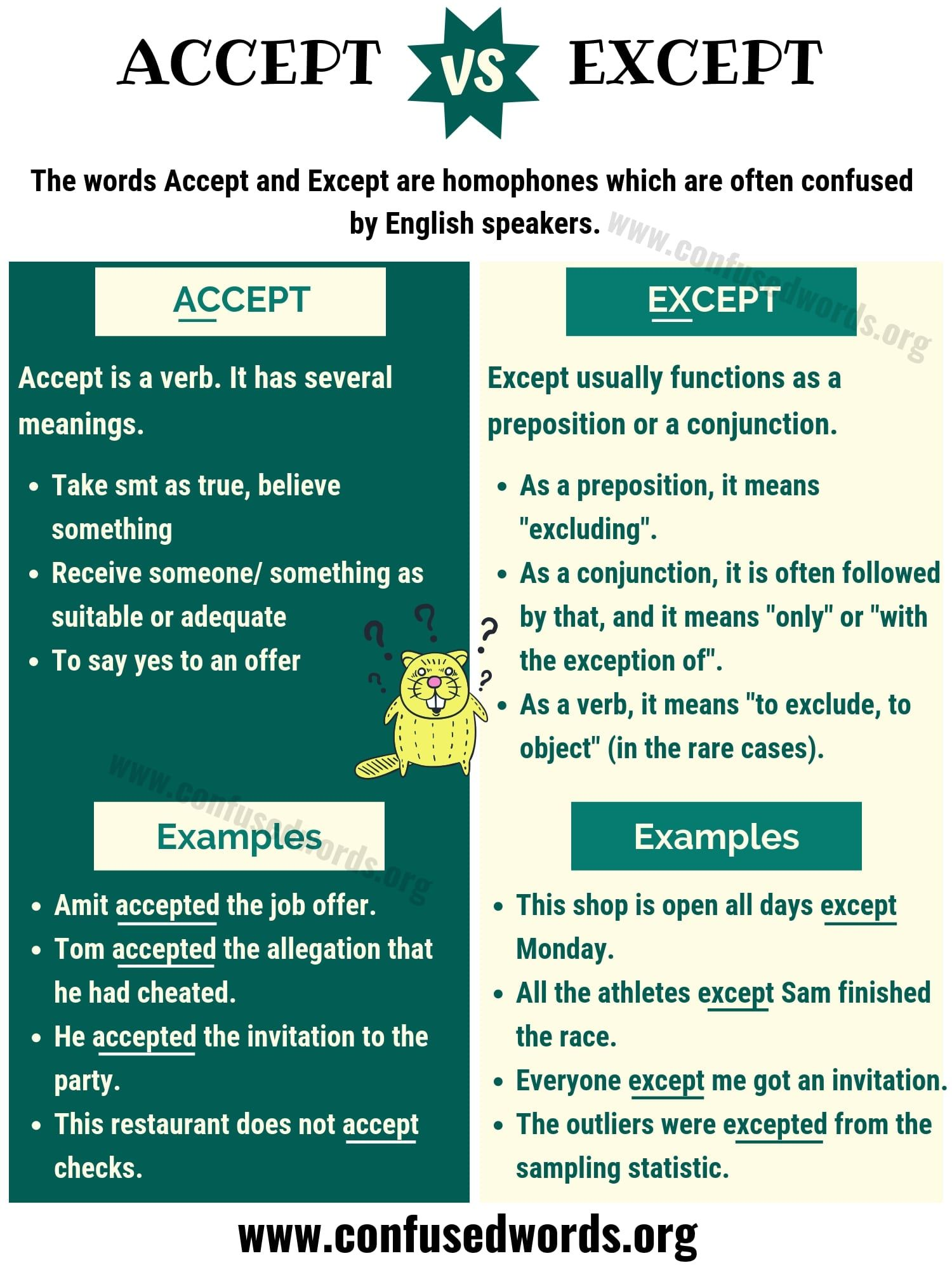 Accept Vs Except How To Use Except Vs Accept In English