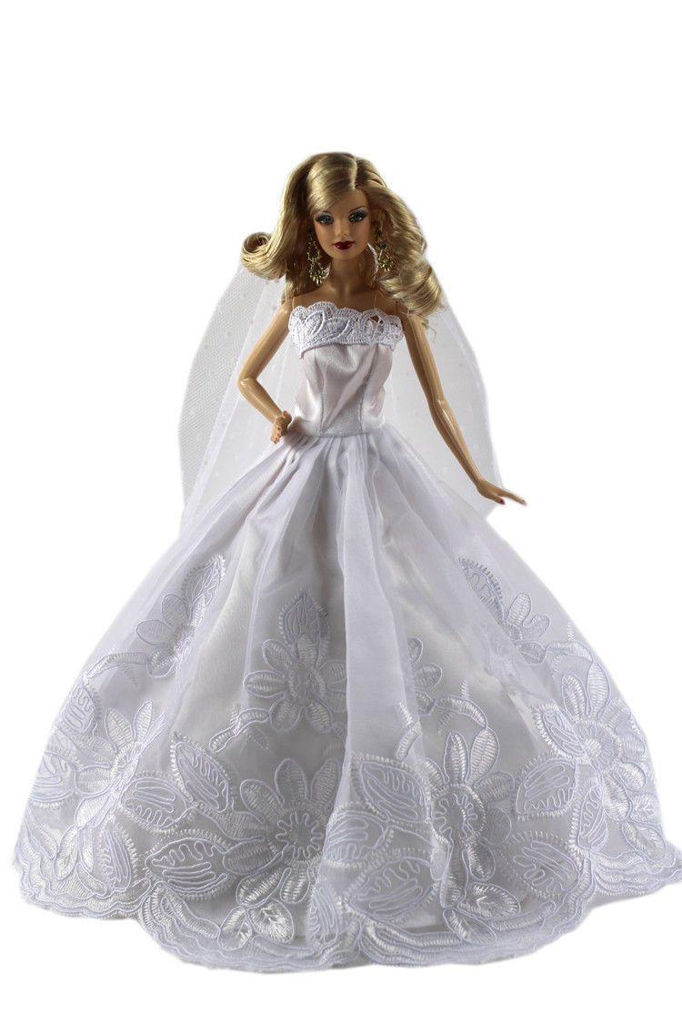 Doll wedding dress  Dollus Dress Clothes Gown Princess Wedding Dress Skirt for Barbie