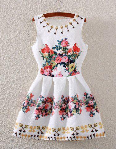 Moda sin mangas de cintura alta de la impresión floral del vestido de la llamarada para las mujeres