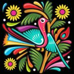 Colorful Bird / mexican style illustration made in a popular paper with a twist of a fresh and funny cartooned bird.