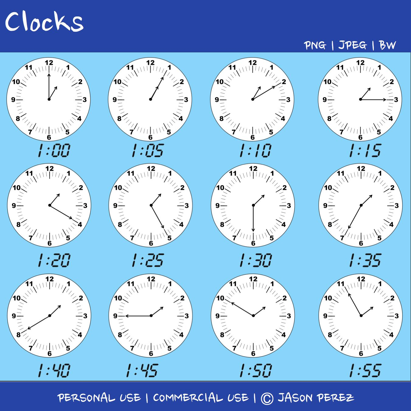 144 clock images plus 144 matching digital time images to the ...