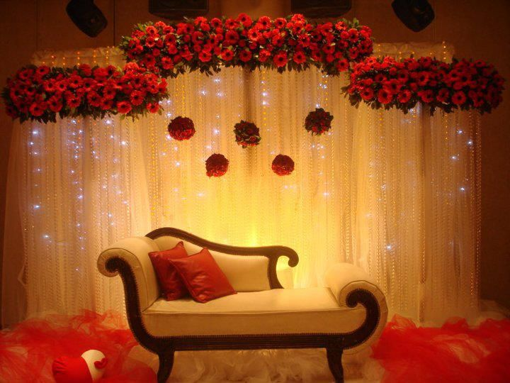 Floral and curtain lights backdrop asianwedding for Background curtain decoration