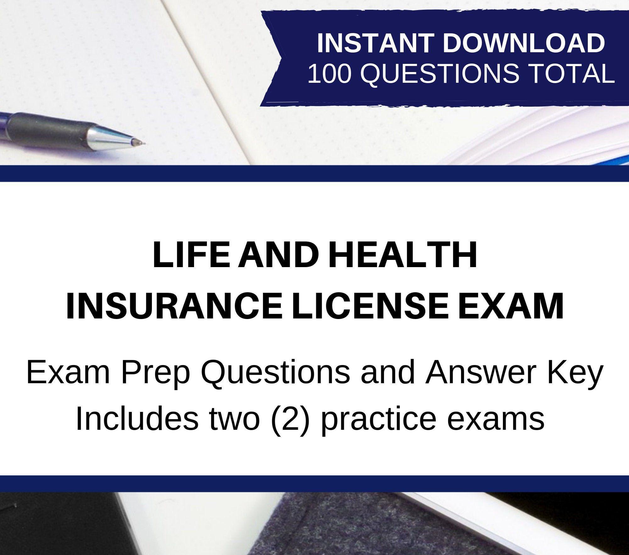 Printable Life And Health Insurance License Exam Bundle Two