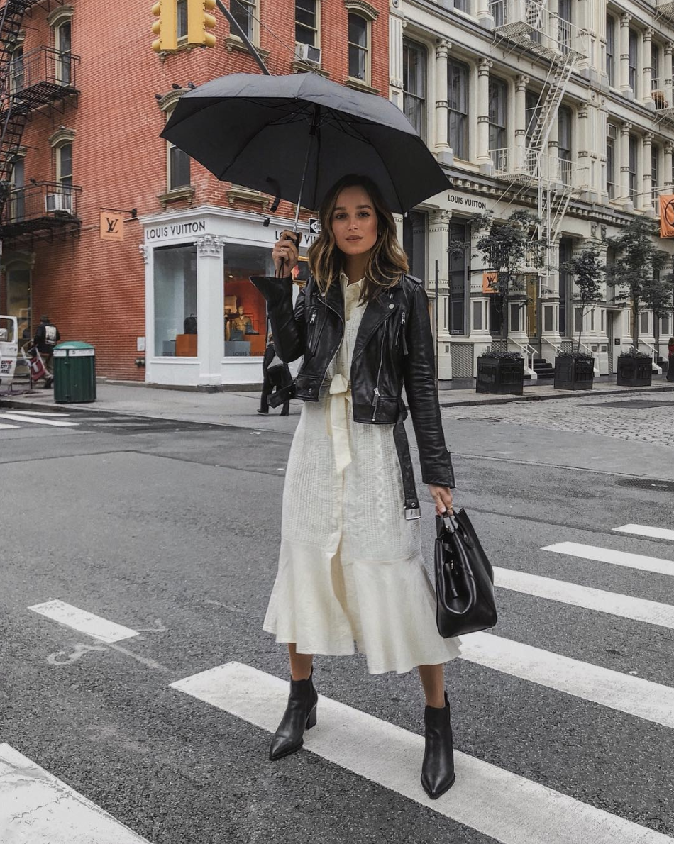 How To Style Your Dresses For Fall Winter Layering White Midi Dress With Black Leather Moto Jacket Styleinspiration Fashion Style Street Style [ 1190 x 950 Pixel ]