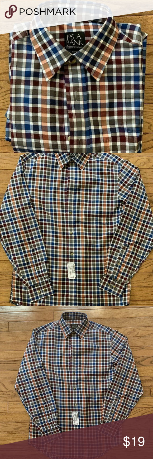 Jos A Bank Travelers Collection Men's Dress Shirt Mens