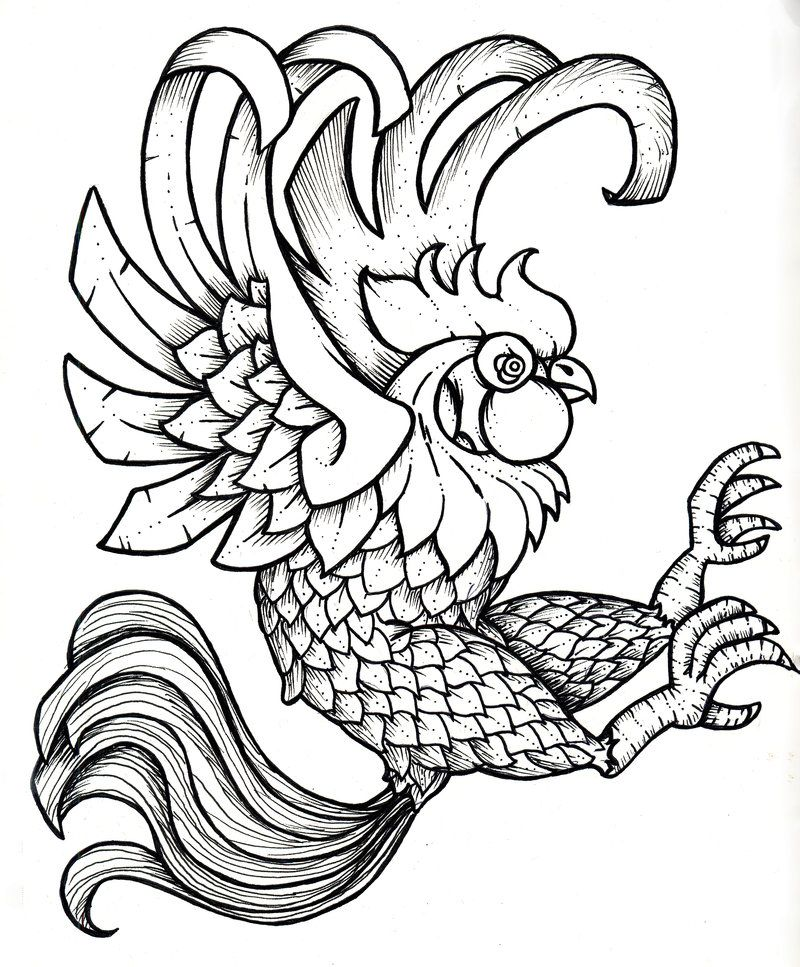 Line Drawing Rooster : Rooster printable black and white by