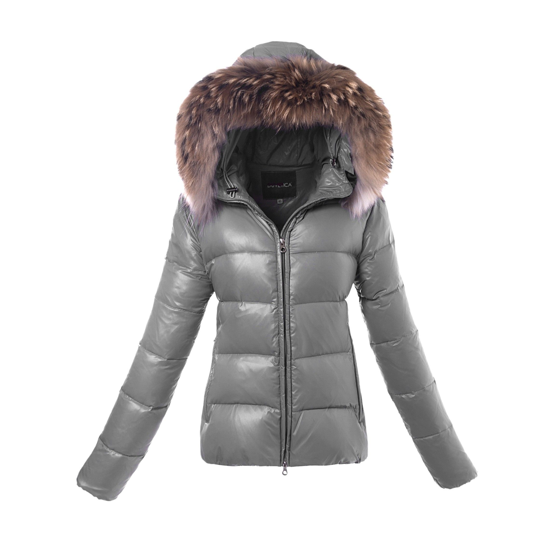 Get your Duvetica Adhara Short Shiny Nylon Puffer Jackets Gray from duvetica outlet shop online as Christmas gifts.