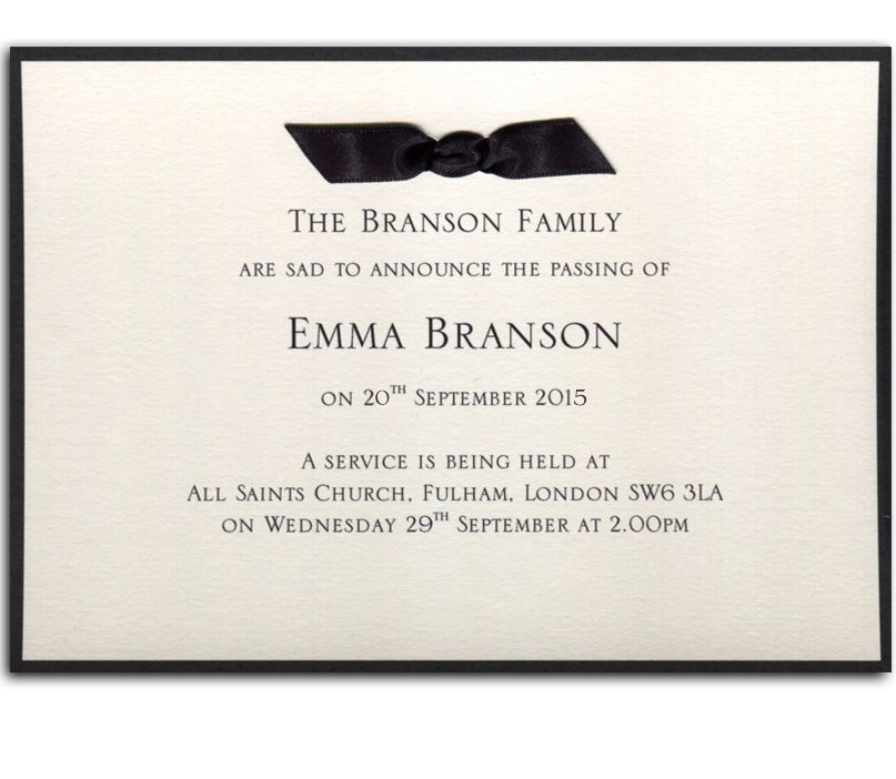 Click to enlarge - Bereavement Announcement Card No12 - memorial service invitation wording