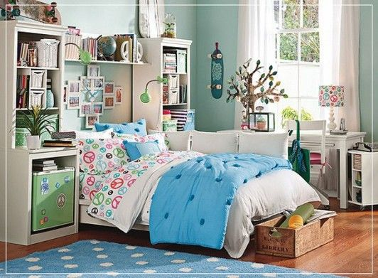 Bedrooms. Teenage Girl Bedrooms Ideas . Terrific Design of Shabby Chic for Teenager Bedroom with White Bedcover and Blue Blanket plus White Shelves with Bookcase furthermore Studying Area With Lamp Shade