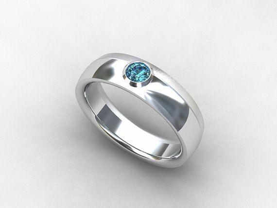 Aquamarine Ring White Gold Ring Men Wedding Band Men Aquamarine Blue Wedding Men Mens Wedding Bands White Gold Mens Gold Rings White Gold Aquamarine Ring