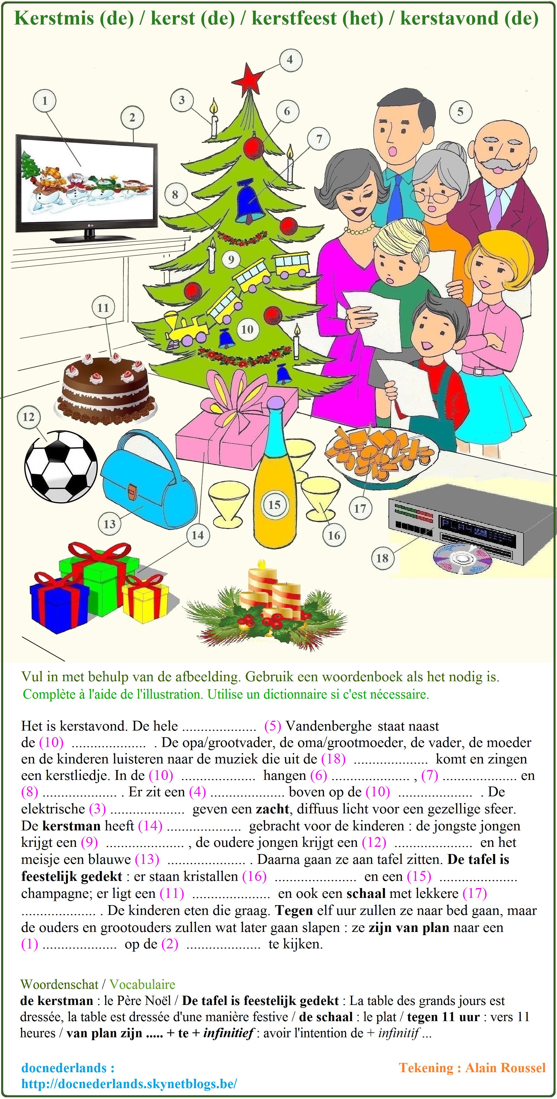 Woordenschatoefening : Kerstmis / Exercice de…   Nederlandse ...