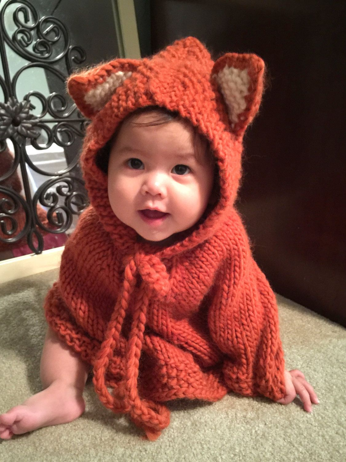 Baby fox poncho. Baby hooded poncho. Girls cape. Children clothes ...