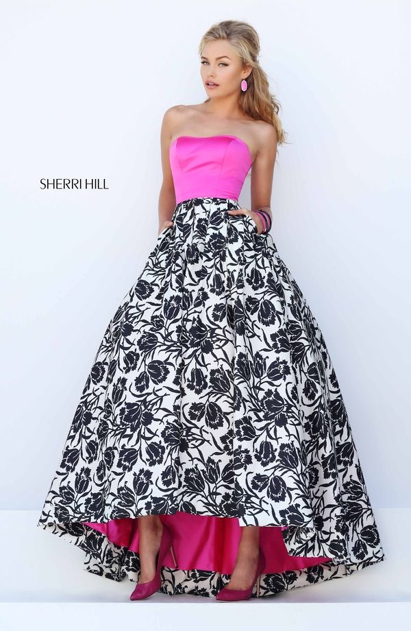 A Line Sherri Hill 50205 Strapless Printed Ball Gown 2016